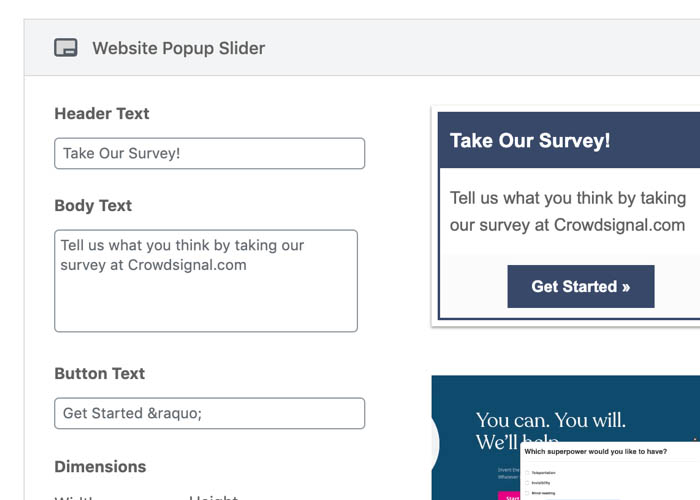 Share and embed surveys anywhere.