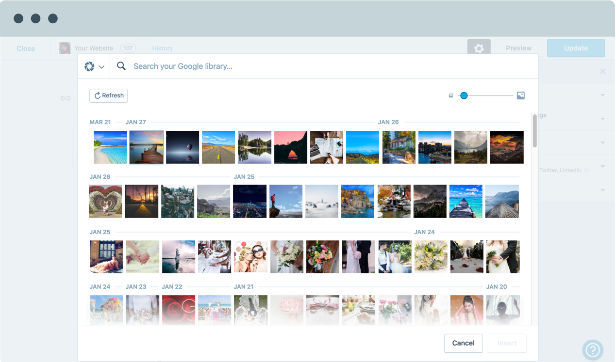 Image showing a google photo gallery inside WordPress