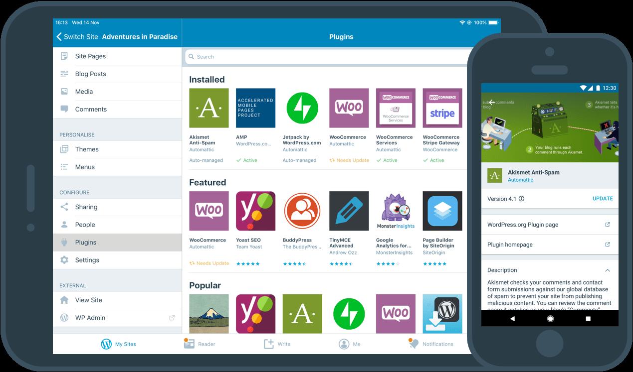 Image d'une interface permettant aux utilisateurs de mettre à jour les extensions de leurs sites depuis leurs téléphones portables