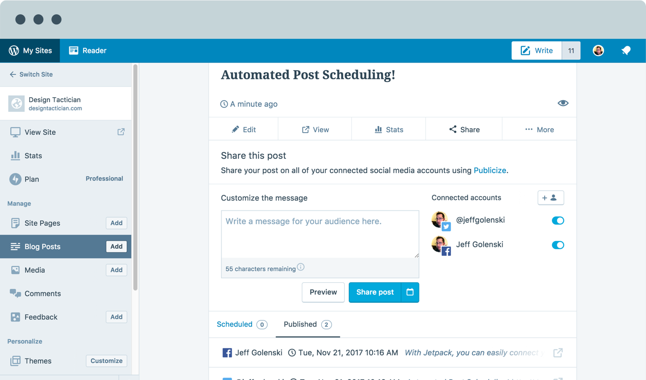 Image of the automated post scheduling feature within Jetpack