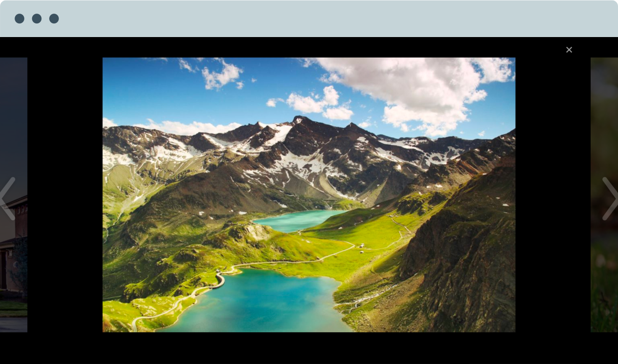 Image showing a full-screen slideshow with a photo of mountains and lakes