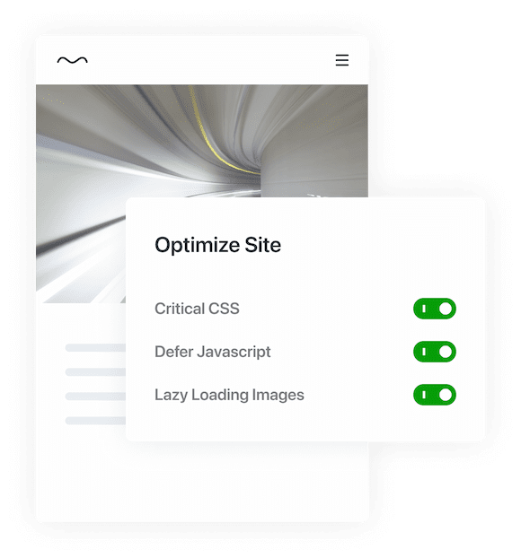 An image showing a web site with a photo of a speed blurred tunnel. In the foreground is an interface titled Optimize Site with a list of toggles for Critical CSS, Defer Javascript, Lazy Loading Images, and Jetpack CDN