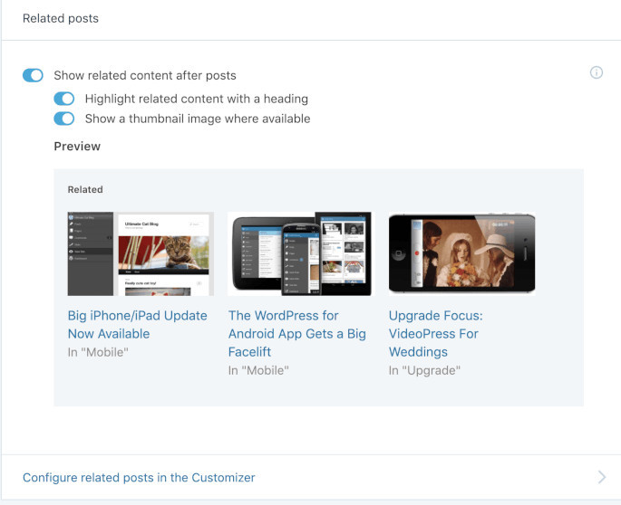 Screenshot of the Related posts section.