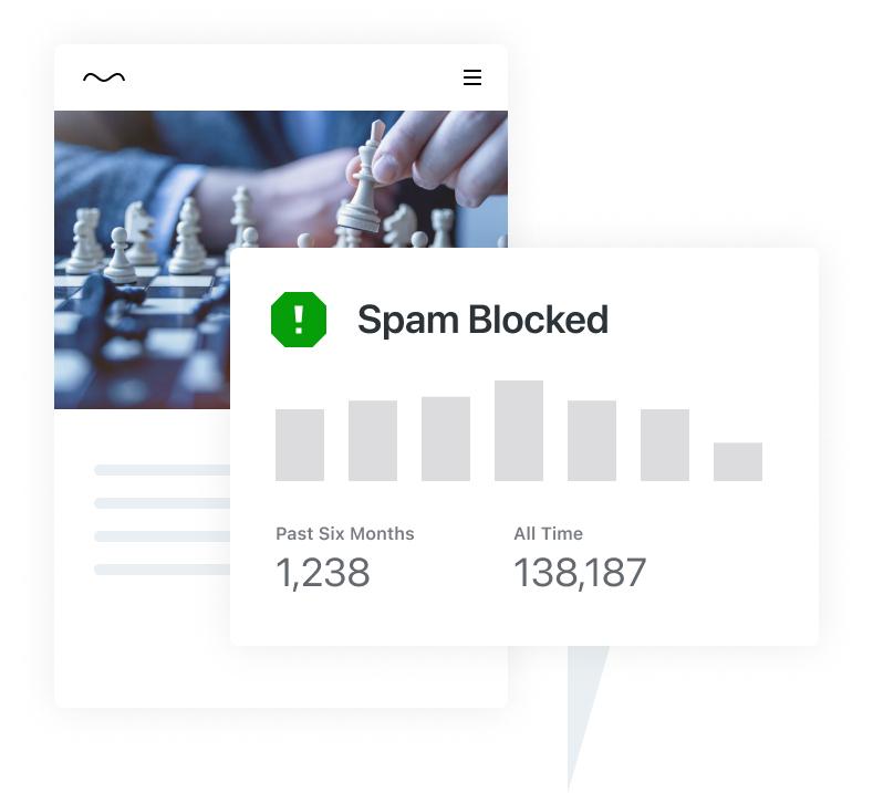 Een illustratie die een grafiek toont van het aantal geblokkeerde spamreacties