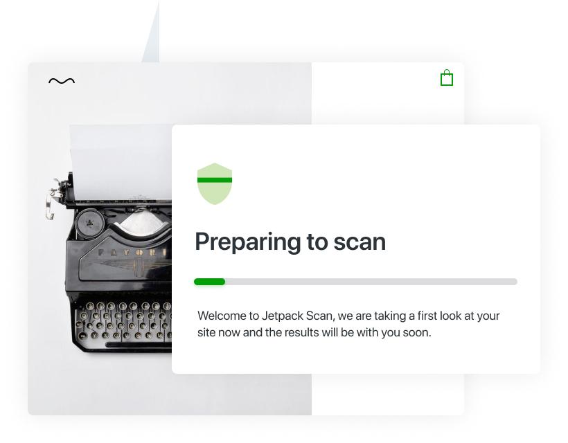 Een illustratie van een site die wordt gescand op beveiligingsrisico's